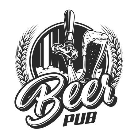 Vintage beer pub emblem