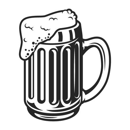 Vintage monochrome beer mug template 向量圖像