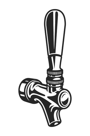 Vintage monochrome beer tap template