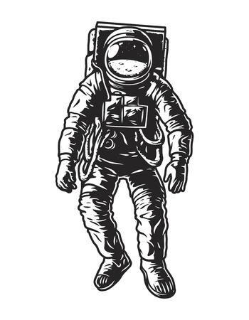 Vintage monochrome astronaut concept