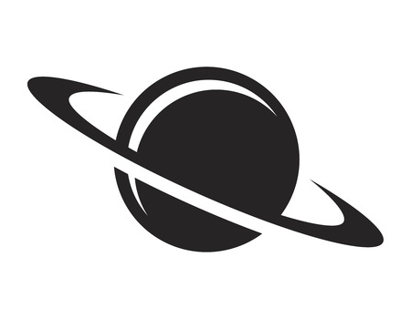 Icône de planète Saturne noir Vintage Vecteurs