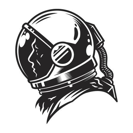 Vintage monochrome cosmonaut profile view template Vettoriali