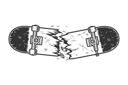 Vintage monochrome broken skateboard template Stock Illustratie