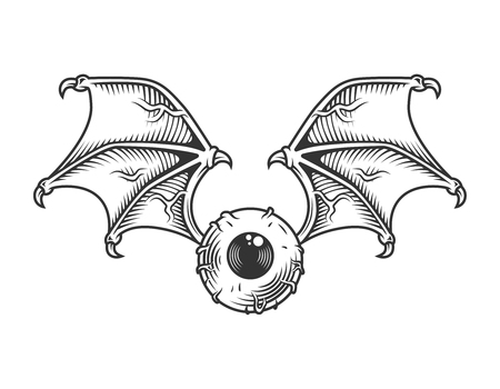 Vintage eye with wings concept Illustration