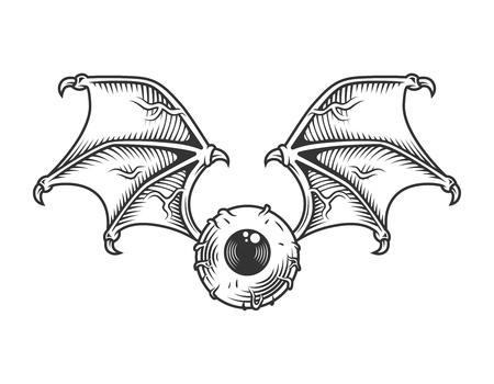 Vintage oog met vleugels concept