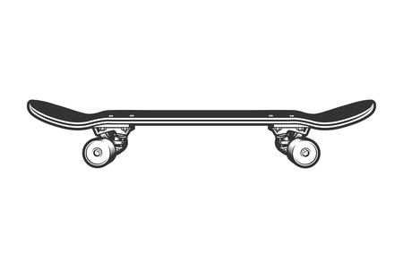 Modèle de vue de côté de skateboard sport monochrome Vecteurs