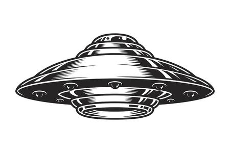 Vintage UFO spaceship concept 矢量图像