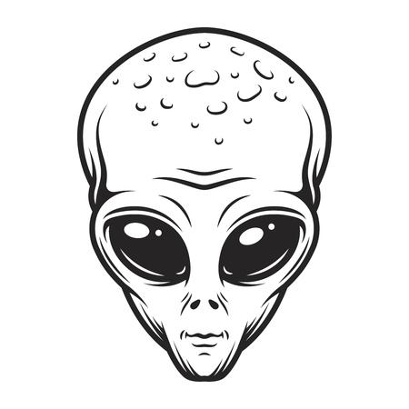 Vintage monochrome alien face concept Illustration