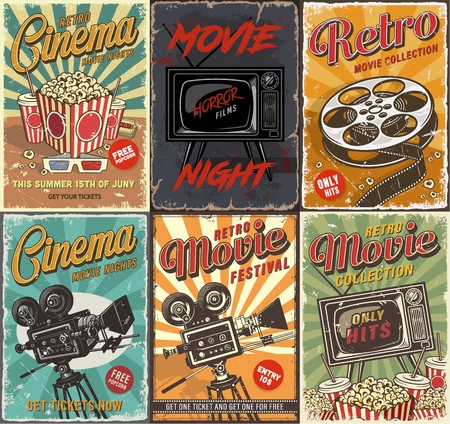 Cinema set of posters Stock Illustratie
