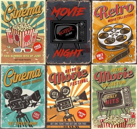 Cinema set of posters Stock Illustratie