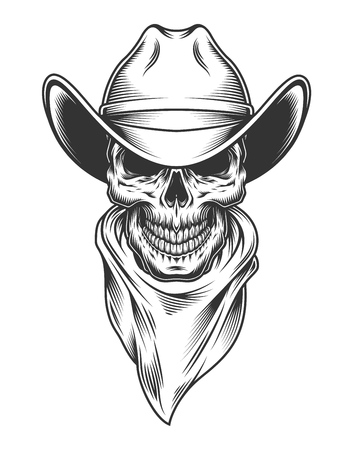 Monochrome vintage skull