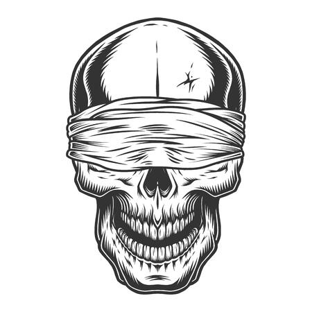 Cráneo vintage monocromo Ilustración de vector