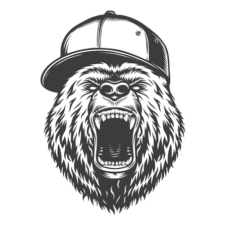 Vintage emblem style bear Illustration
