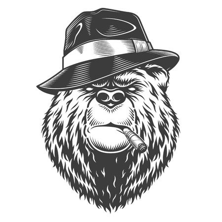 Vintage collection style bear Illustration