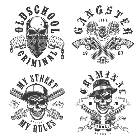 Set of gangster emblems
