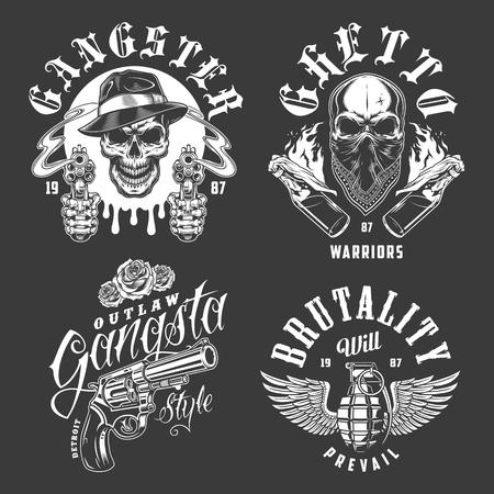 Set of gangster emblems Banque d'images - 104070604