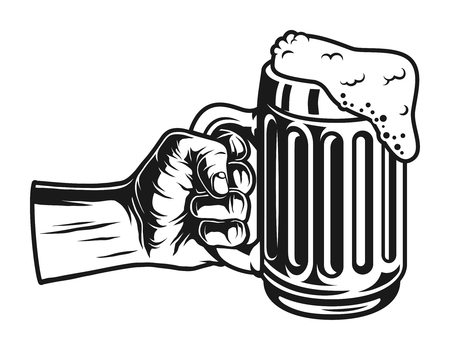 Male hand holding beer mug concept Stock Illustratie