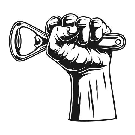 Male hand holding bottle opener concept Ilustração