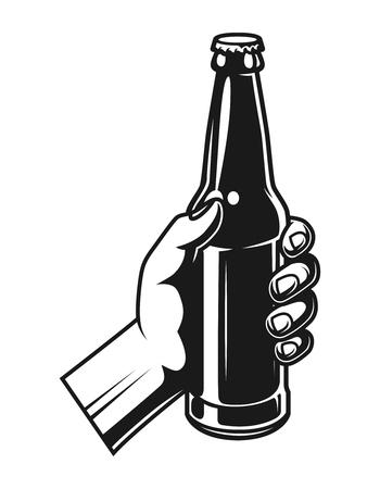 Vintage hand holding beer bottle
