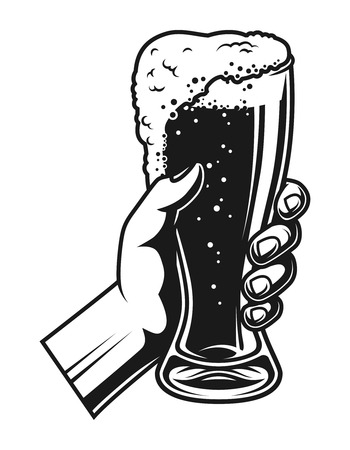 Hand holding full beer glass template