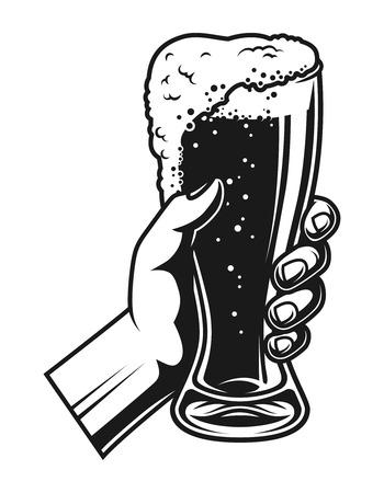 Hand holding full beer glass template