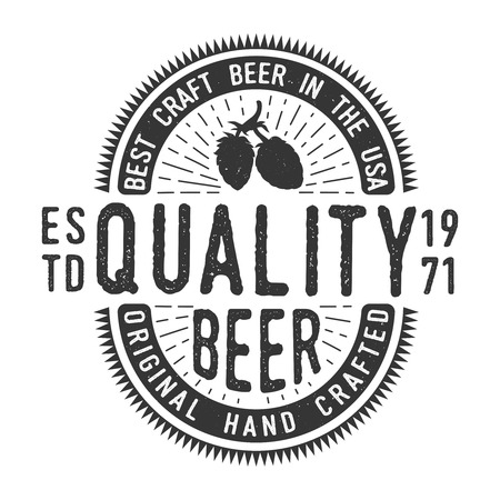 Vintage monochrome craft beer emblem Illusztráció