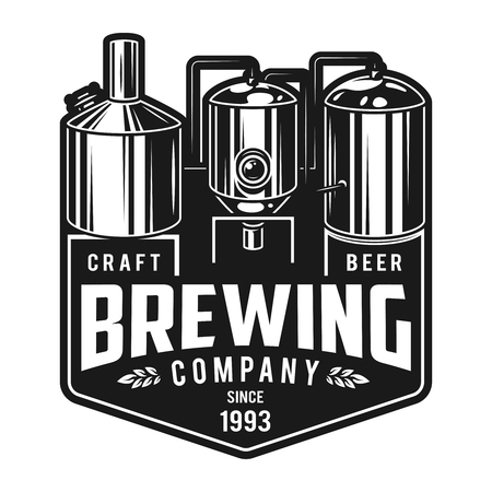 Vintage monochrome craft brewery emblem