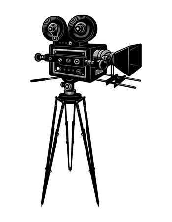 Colorful retro cinema movie camera template