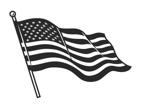 Monochrome American flag template Иллюстрация