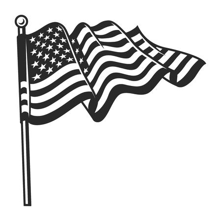 Modèle de drapeau ondulé vintage des Etats-Unis Vecteurs