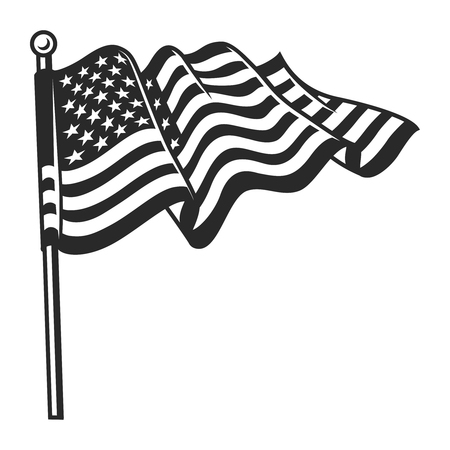 Vintage waving flag of USA template