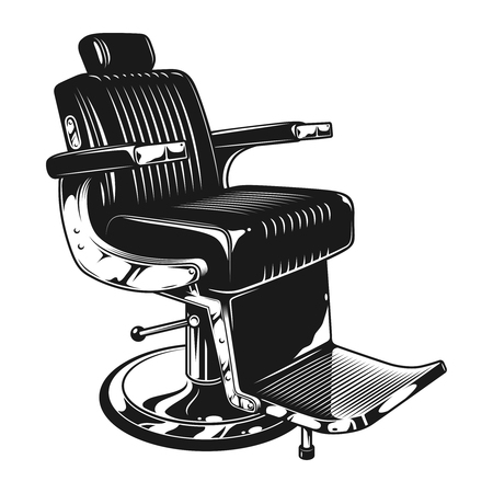 Vintage barbershop modern chair template Çizim