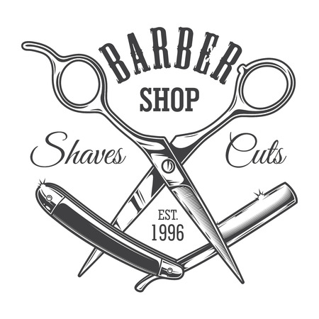 Vintage hairdresser salon label with barber scissors and razor blade isolated vector illustration