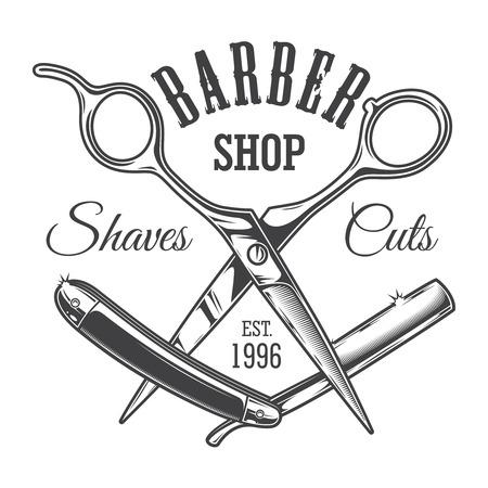 Etichetta del salone di parrucchiere vintage con forbici da barbiere e illustrazione vettoriale isolato lama di rasoio