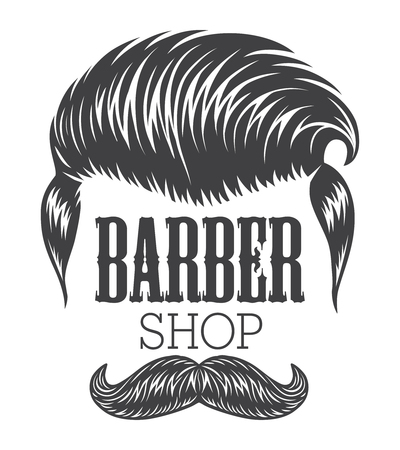 Vintage monochrome barber shop with hipster modern hairstyle and mustache isolated vector illustration