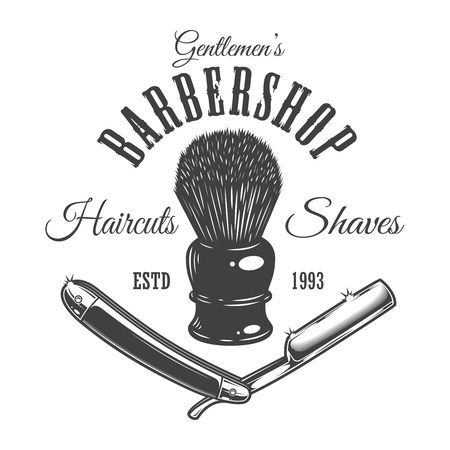 Vintage barber shop icon concept with shaving brush and razor in monochrome style isolated vector illustration