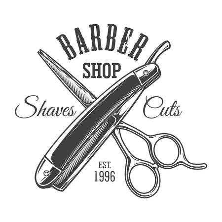 Vintage monochrome barbershop with crossed scissors and razor isolated vector illustration Stock Illustratie