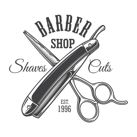 Vintage monochrome barbershop with crossed scissors and razor isolated vector illustration Иллюстрация