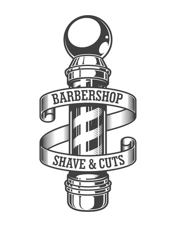 Vintage monochrome barbershop emblem with barber pole and inscriptions on ribbon isolated