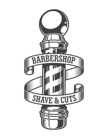 Vintage monochromatyczne godło fryzjera z drążkiem fryzjerskim i napisami na wstążce na białym tle