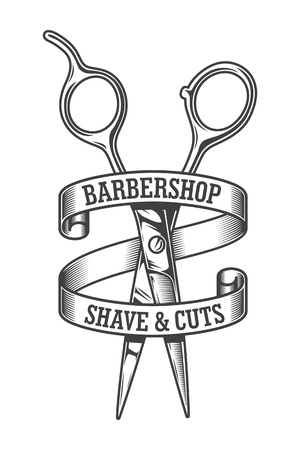 Vintage monochrome hairdresser salon emblem with sharp scissors and inscriptions on rounded ribbon