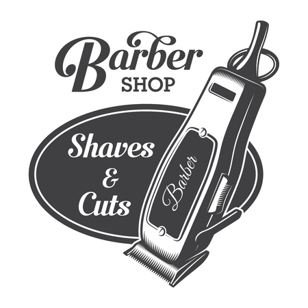 Monochrome barber shop emblem concept with letterings and electric hair clipper in vintage style isolated vector illustration
