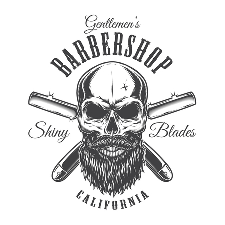 Vintage barbershop monochrome label with bald bearded hipster skull inscriptions and crossed razors isolated