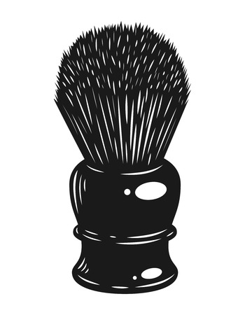 Monochrome barber shaving brush concept in vintage style isolated vector illustration