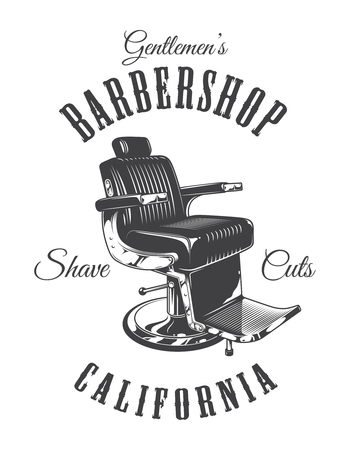 Vintage monochrome barbershop emblem with barber chair and inscriptions isolated