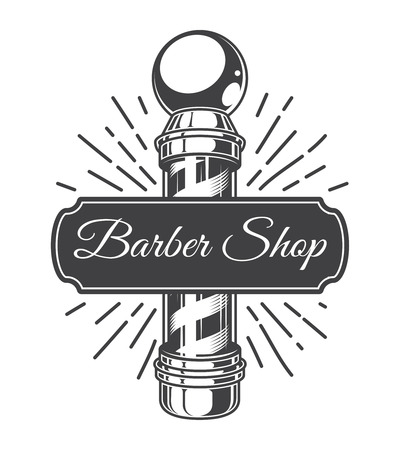 Vintage hairdresser salon monochrome emblem with striped barber pole and inscription isolated vector illustration