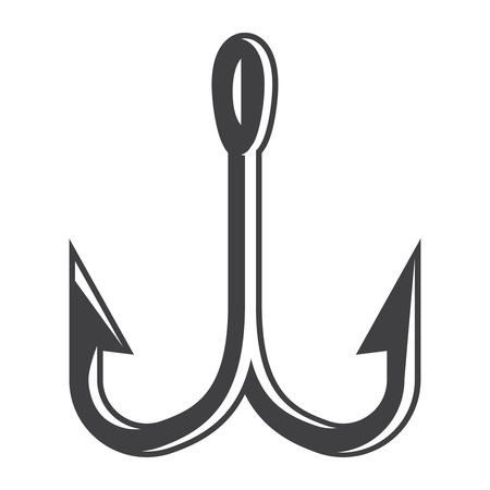 Vintage double fishing hook concept in monochrome style isolated