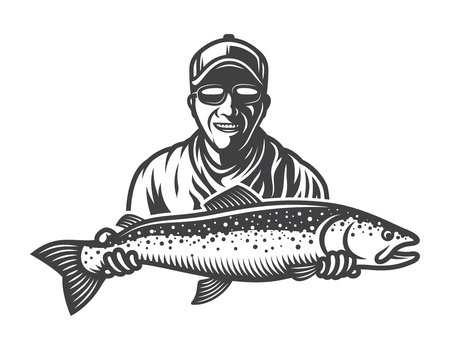 Vintage monochrome fishing concept Stock Illustratie