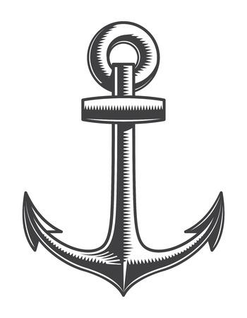 Vintage monochrome nautical anchor template Stockfoto - 105265975