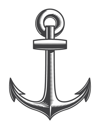 Vintage monochrome nautical anchor template 写真素材 - 105265975